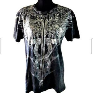 Ring of Fire Charcoal Tee with Silver Graphics L